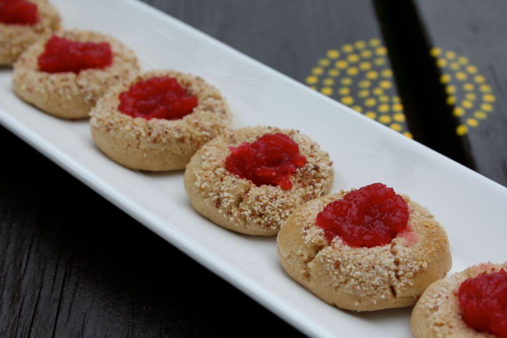 highbush cranberry jelly  & thumbprint cookies (4/5)