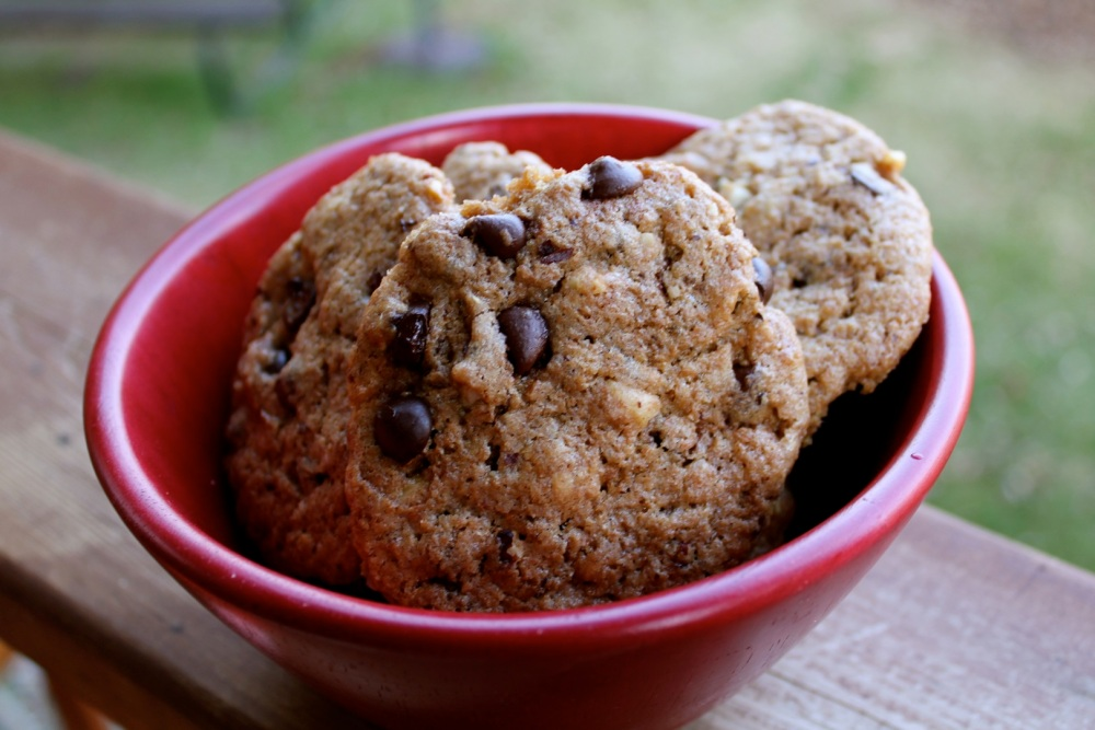 adventures with whole grains: chocolate chip-hazelnut cookies