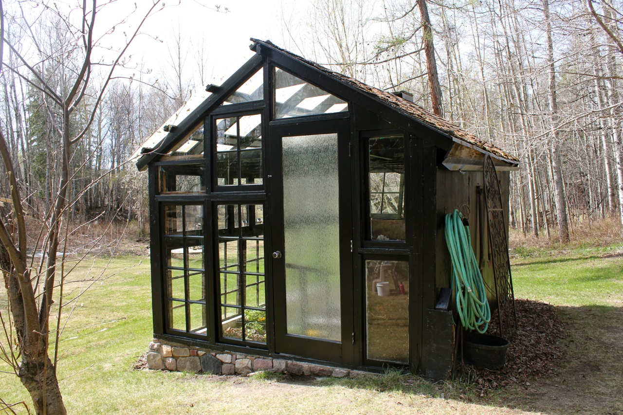 how to build a greenhouse out of glass doors